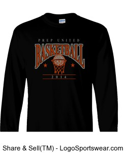 Prep United Black Adult Long Sleeve Basketball T-Shirt Design Zoom