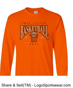 Prep United Orange Adult Long Sleeve Basketball T-Shirt Design Zoom