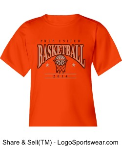 Prep United Youth Orange Short Sleeve T-Shirt Design Zoom