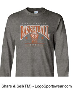 Prep United Adult Grey Long Sleeve Basketball T-Shirt Design Zoom